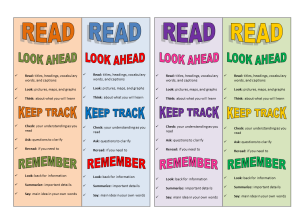 Reading Strategies Bookmark PREVIEW